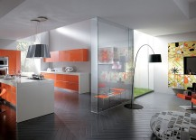 Fabulous use of orange throughout the kitchen and in the living space