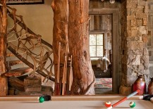 Family area of the rustic retreat with a pool table