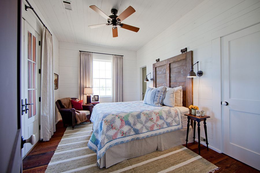 Farmhouse style bedroom with custom headboard [Design: The Design Atelier]
