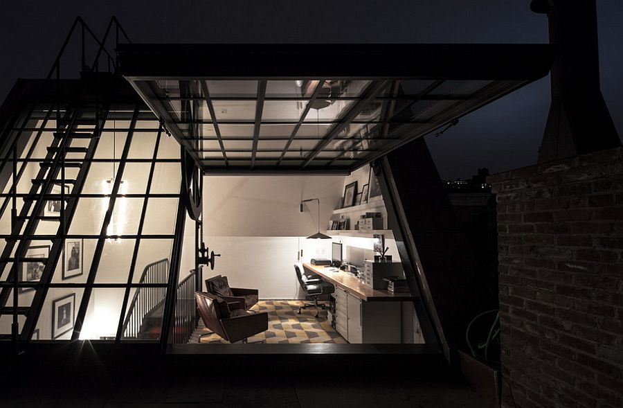 Fascinating home office of the NYC home at night