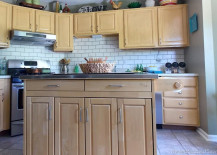 Faux painted subway tile kitchen