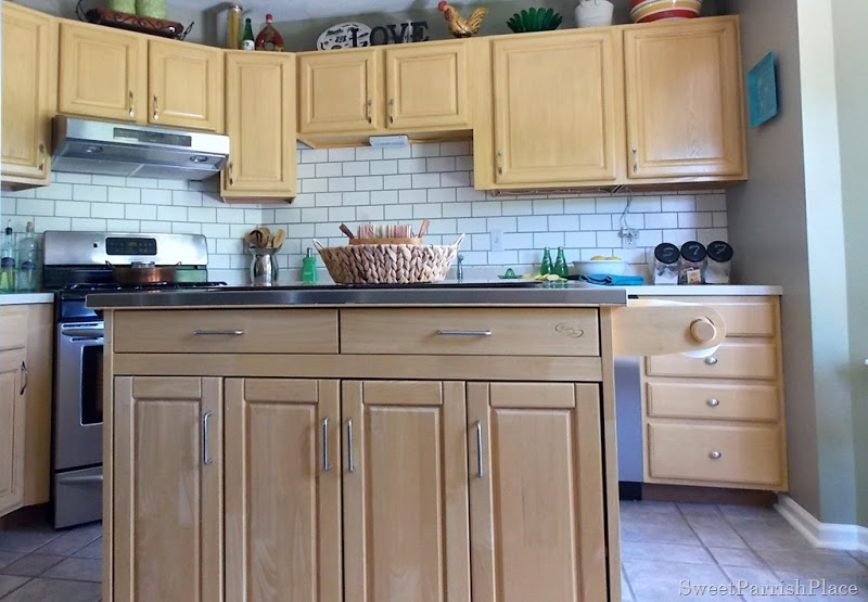 View In Gallery Faux Painted Subway Tile Kitchen