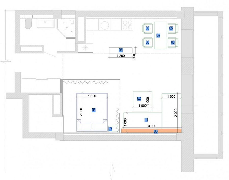 Floor plan for a small modern apartment with limited space