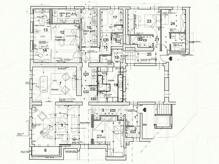 Floor plan of La Casa del Tempo by Claudia Pelizzari Interior Design in Venice, Italy