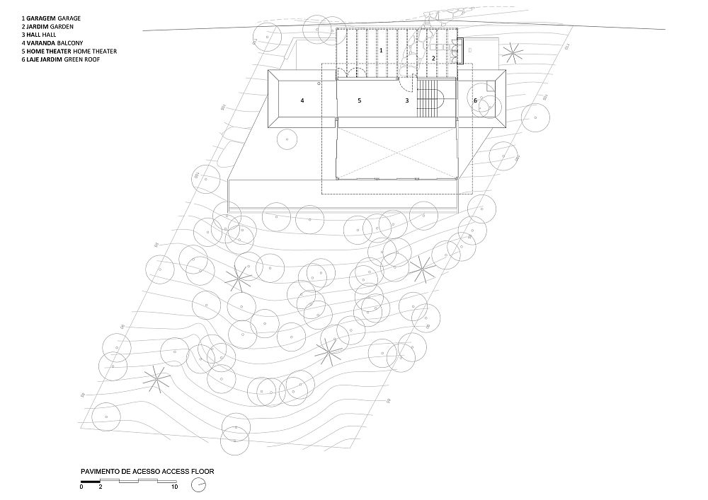 Floor plan of the first level of the AMB House