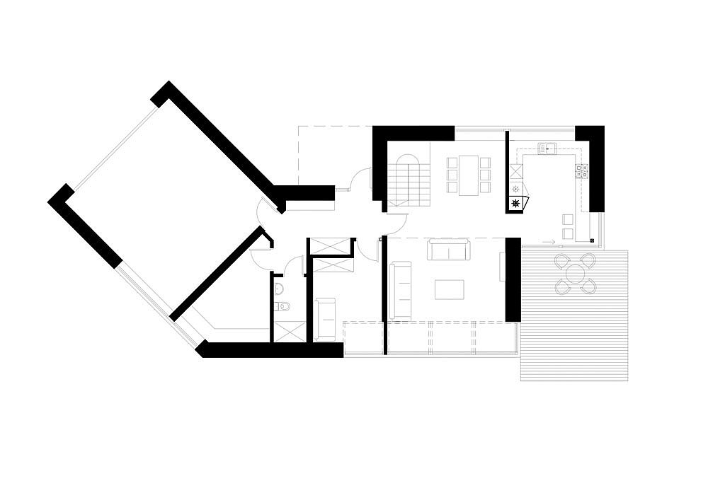Floor plan of the gorgeous forest house in Lithuania