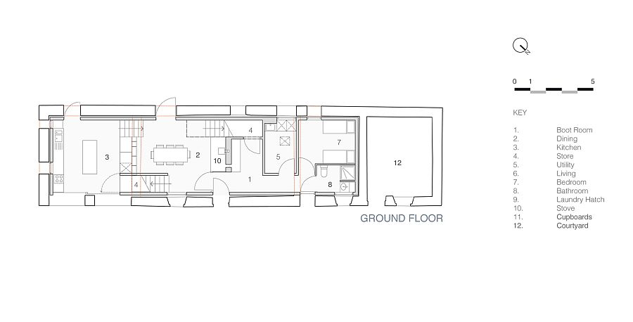 Floor plan of the ground floor of the Mill House