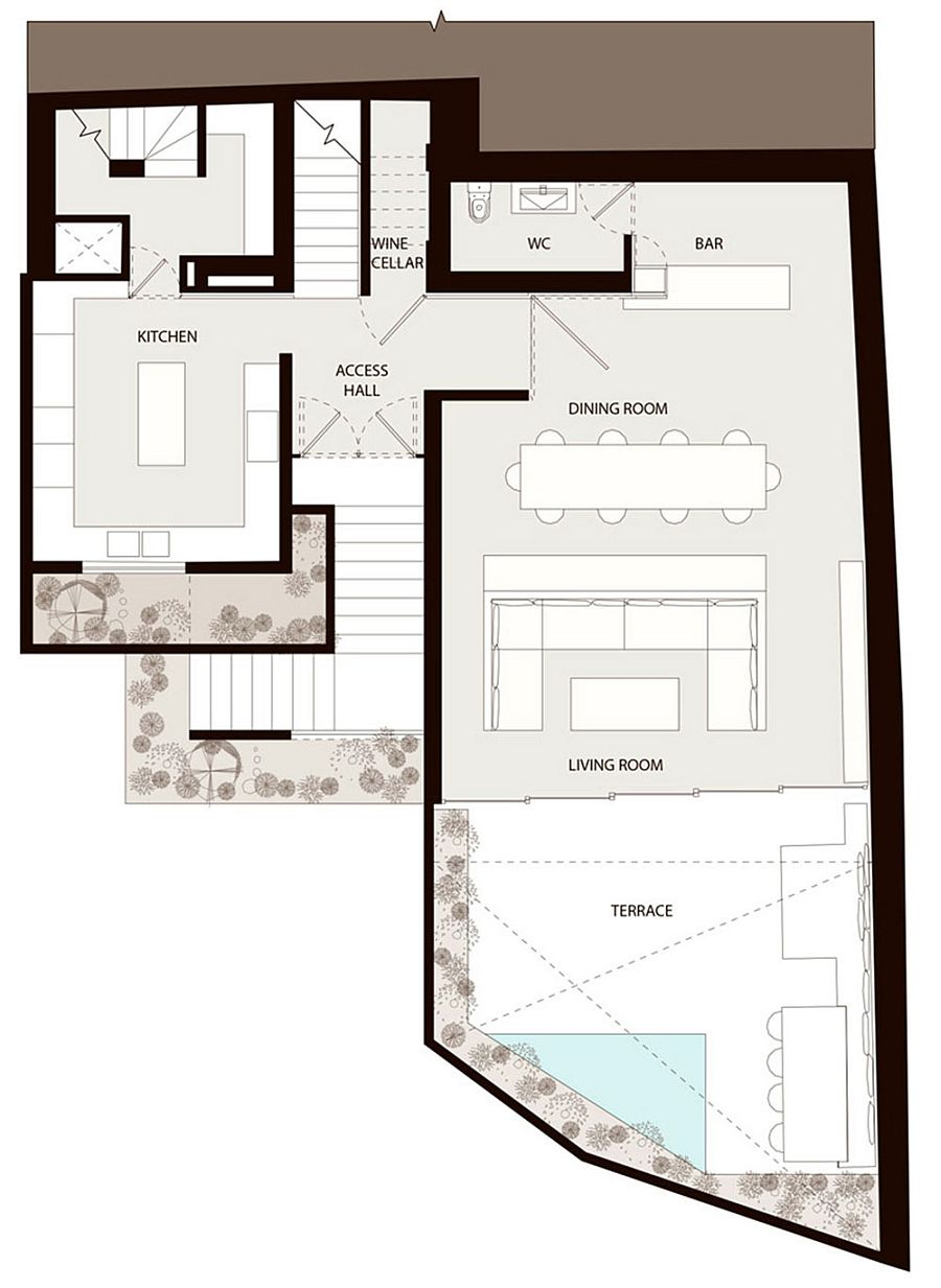 Floor plan of the lower level of the lavish Mexican home