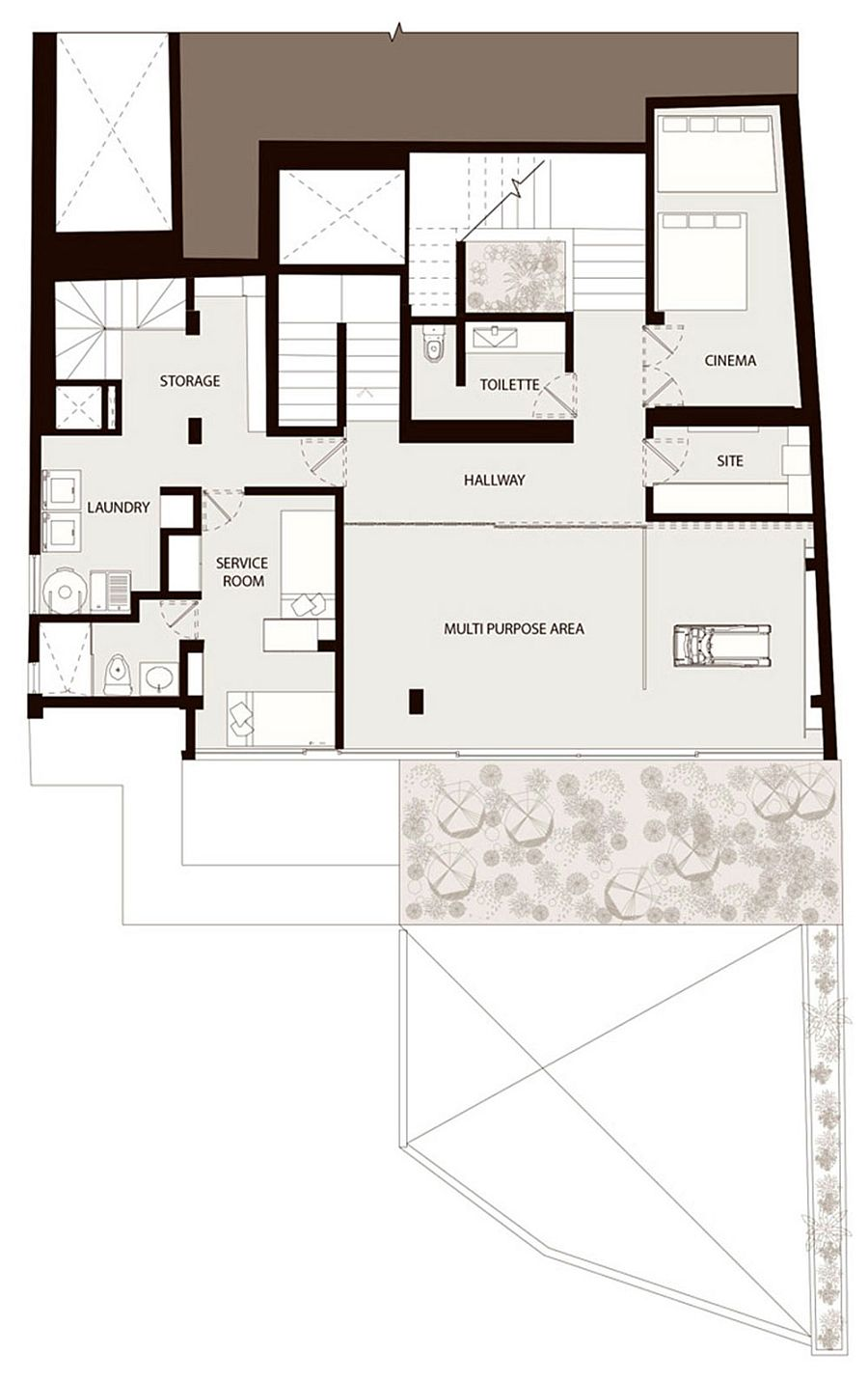 Floor plan of the second level of the renovated Mexico City Residence