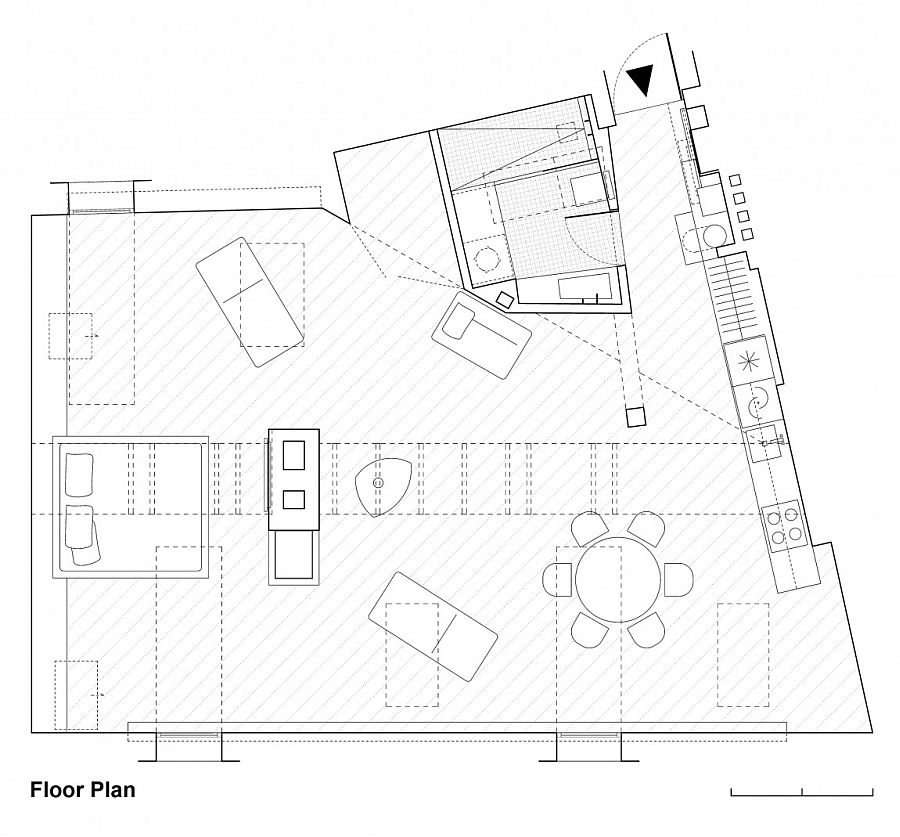 Floor plan of the trendy attic apartment in Vilnius