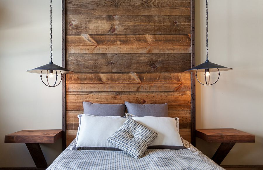 ... Floor-to-ceiling headboard with wooden planks in the rustic bedroom  [Design: