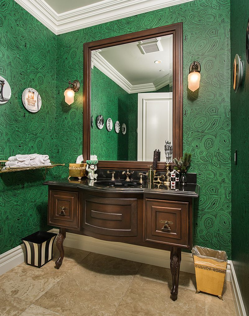 Fornasetti Malachite Wallpaper in this Mediterranean powder room is a less expensive alternative
