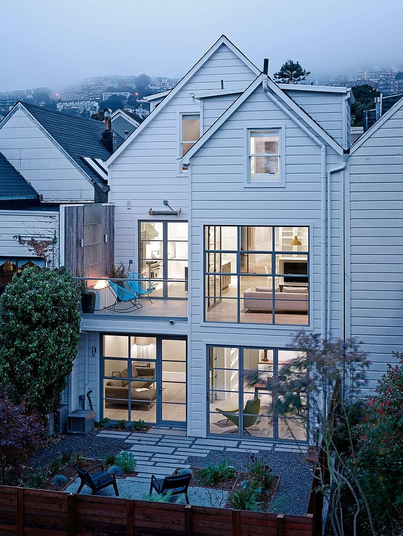 Framed glass windows give the interior a more airy spacious appeal Multi Level Victorian Home in San Francisco Gets a Cheerful, Modern Upgrade