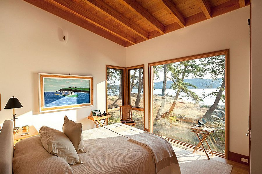 Framed views from the bedroom at the Saturna Island Retreat