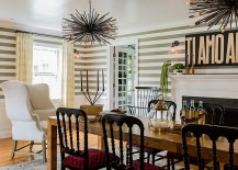 Fun dining room design with striped wallpaper