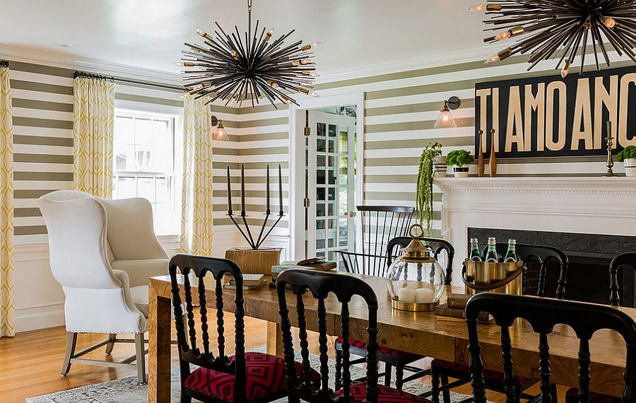 View In Gallery Fun Dining Room Design With Striped Wallpaper [Design:  Hudson Interior Design]