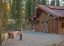 Garage and shed of the private rustic cabin in Big Sky, Montana