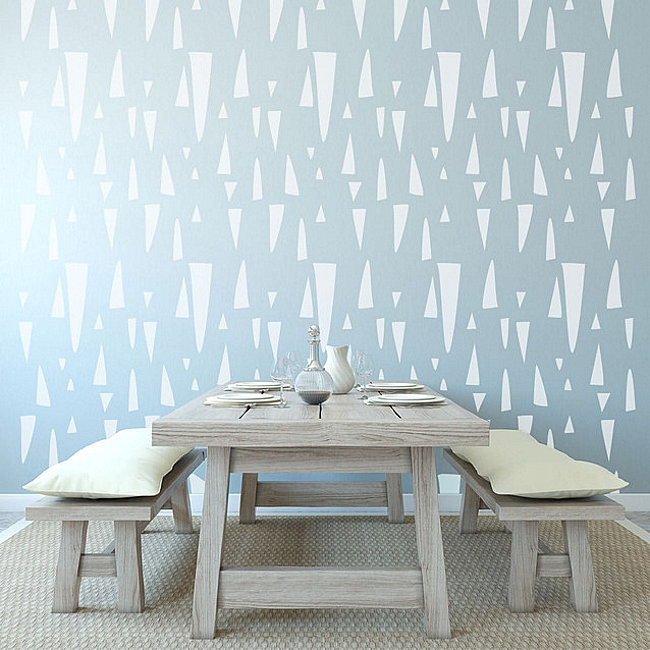 Geo wall stencil available for purchase via Houzz