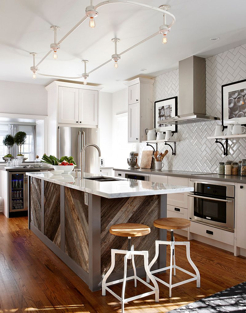 Give your old kitchen island a new lease of life with reclaimed timber [From: Stacey Brandford Photography]