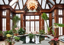 Gorgeous Koi Pond becomes the focal point of the grand sunroom