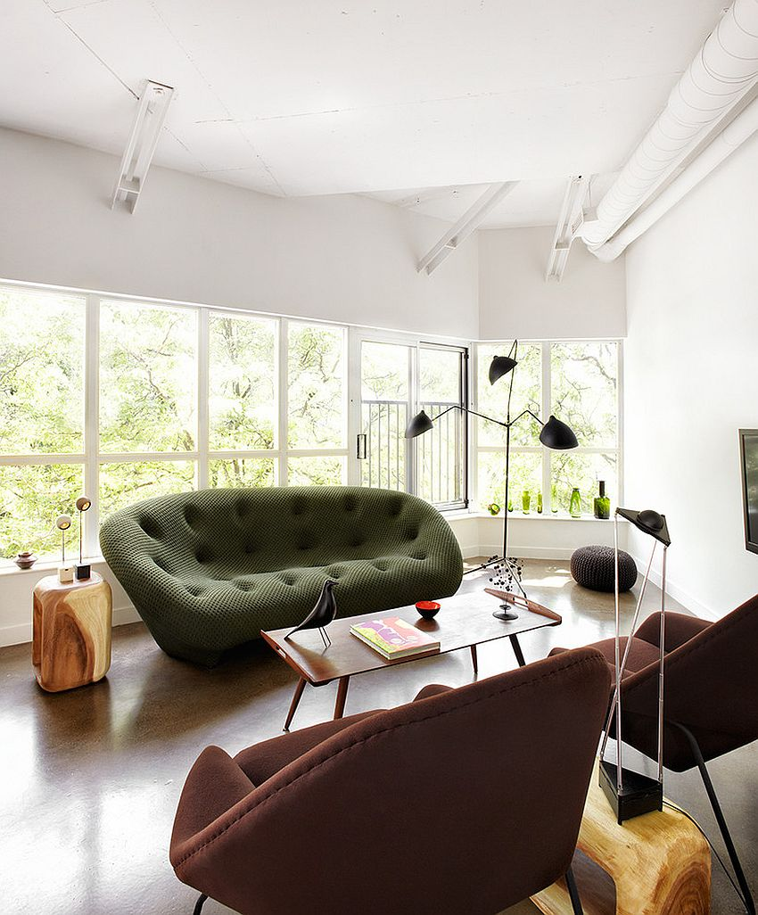 Gorgeous ploum sofa in green steals the show design stephane chamard