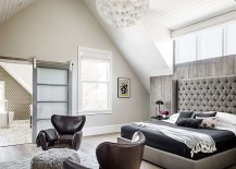 Gorgeous bedroom of the Victorian home in San Francisco with hints of gray