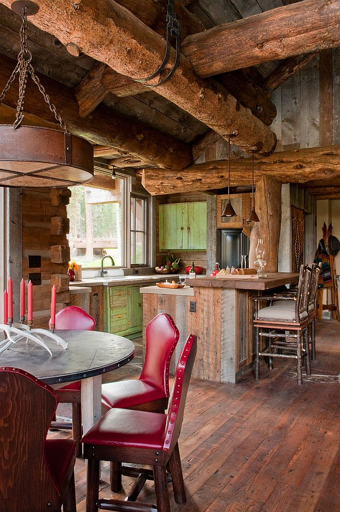Idyllic headwaters camp cabin by dan joseph architects for Rustic dining area
