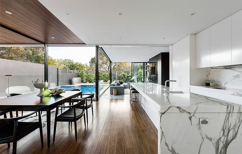 Gorgeous Marble Kitchen Island Defines The Elegant Open Heritage Home In Melbourne Charms With A
