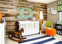 Gorgeous nursery design with a fabulous accent wall
