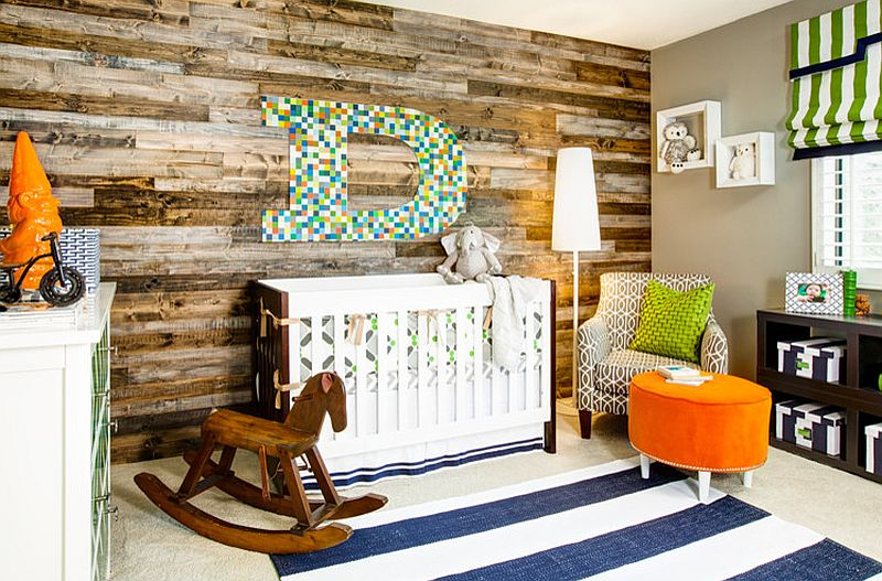 Gorgeous nursery design with a fabulous accent wall [Design: J & J Design Group]
