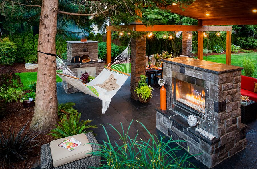View In Gallery Gorgeous Outdoor Living Area Complete With Fireplace And  Hammock [Design: Paradise Restored Landscaping U0026