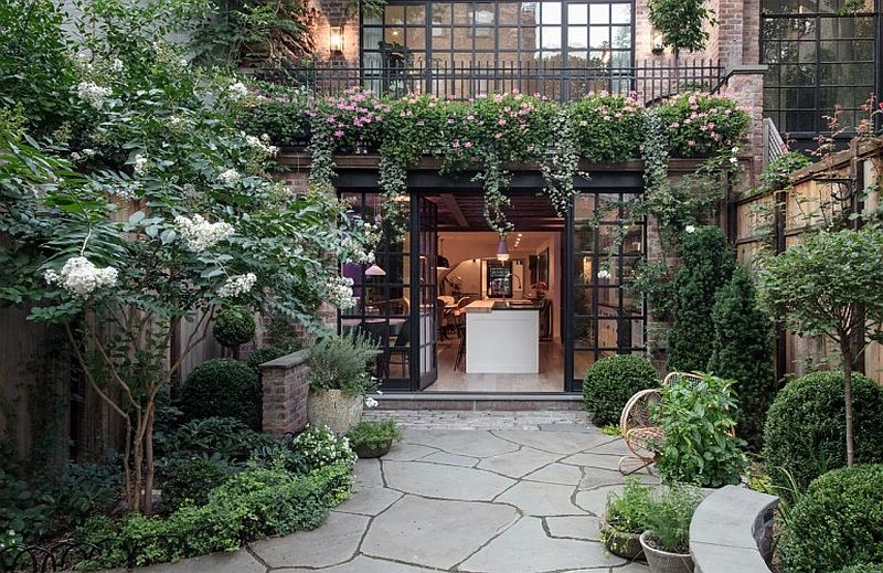 Gorgeous private garden of the NYC Townhouse Revitalized 1840s NYC Townhouse Blends Sustainability with Exclusivity!