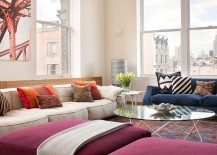 Gorgeous use of colorful couch and ottomans enlivens the chic living area 217x155 Cheerful Manhattan Loft Unleashes Vivacious Color and Deft Creativity!