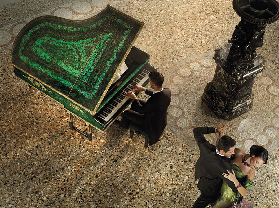 Grand piano helps create a lavish, fairytale setting [From: Baldi and Bechstain]