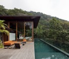 Grand private deck and lavish pavillion of the Brazilian home with pool