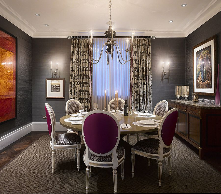 Grasscloth wall covering adds texture to the dining room walls