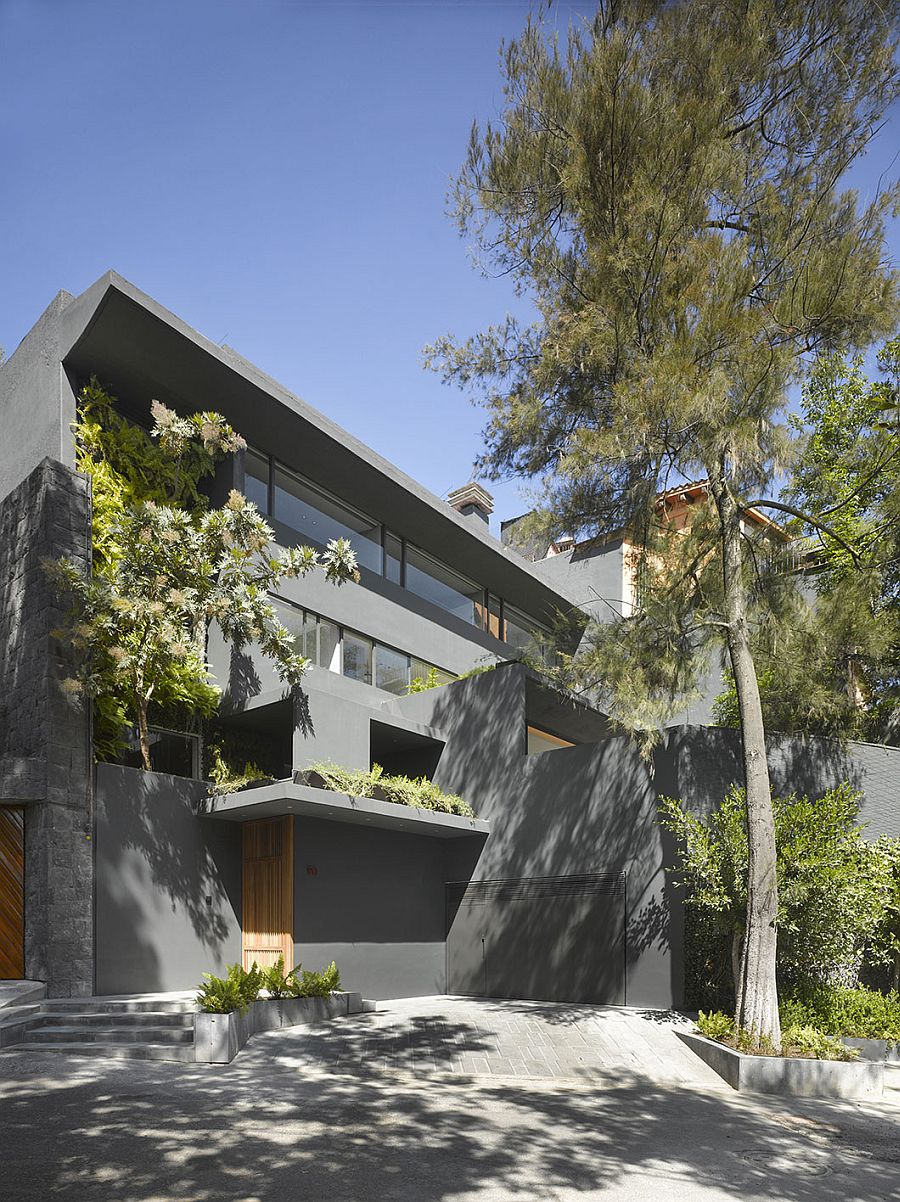 Gray Exterior of fabulous renovated residence in Mexico City