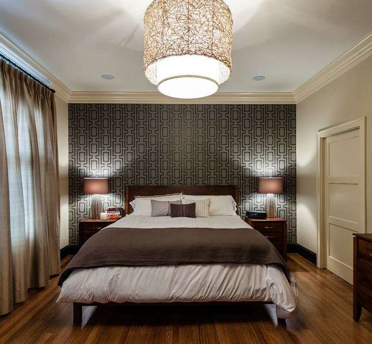 Hand painted stencil in an elegant bedroom Make a Statement with Stenciled Walls
