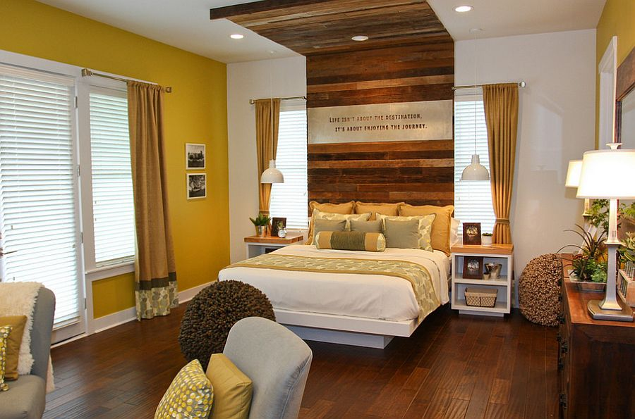 Headboard brings a hint of rustic charm to the modern bedroom [Design: Terra Firma Home]