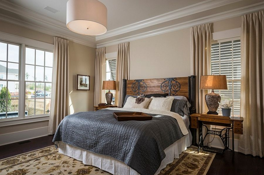 Headboard that matches the antique sewing nightstands [Design: Southern Traditions Window Fashions]