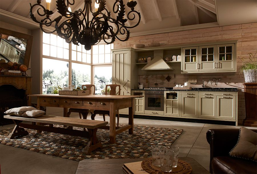 Heavy wooden surfaces and overall ambiance give the kitchen a timeless look