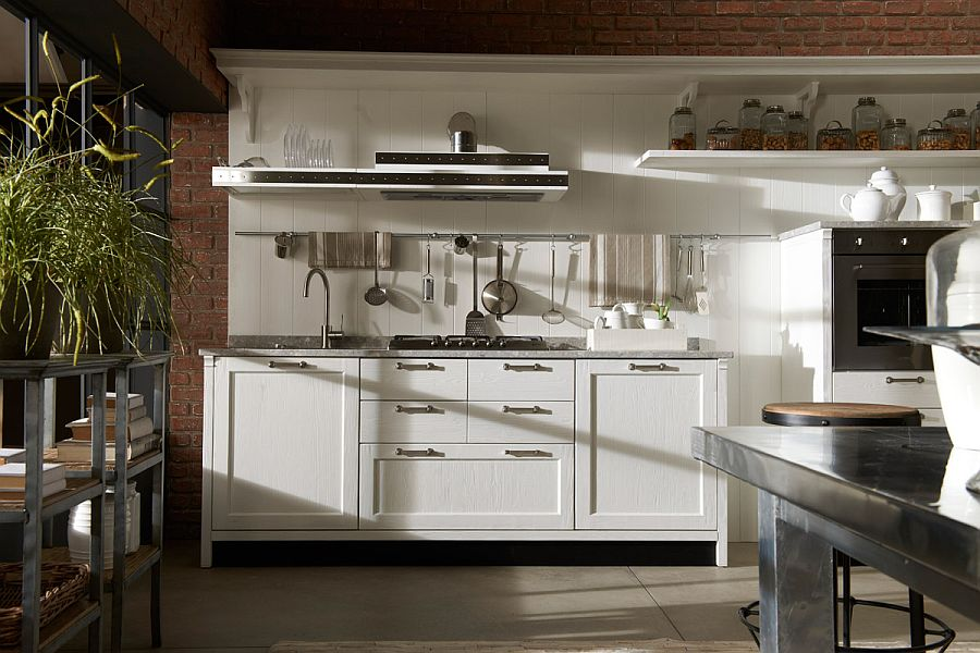 Hint of exposed brick adds to the unique style of the kitchen