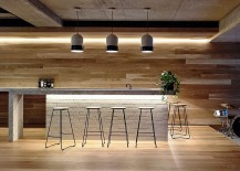 Home bar design in American oak and brick
