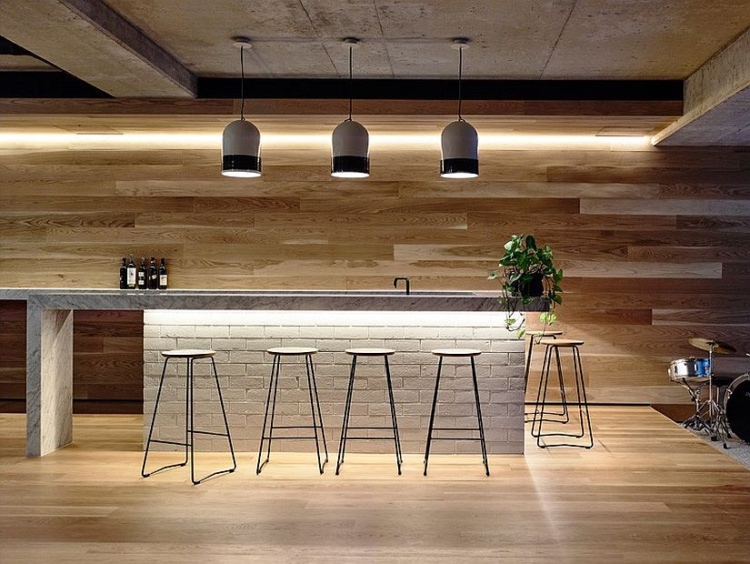 Home bar design in American oak and brick