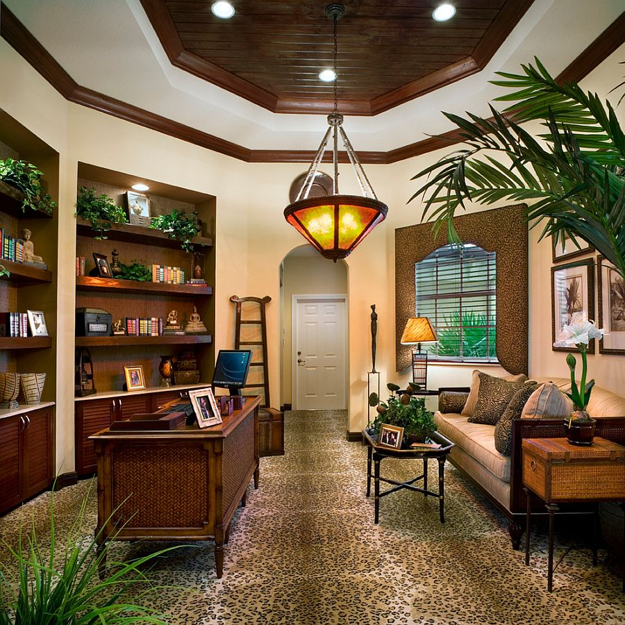 Home office relies on natural greenery for color and freshness! [Design: De'Shea Interiors]