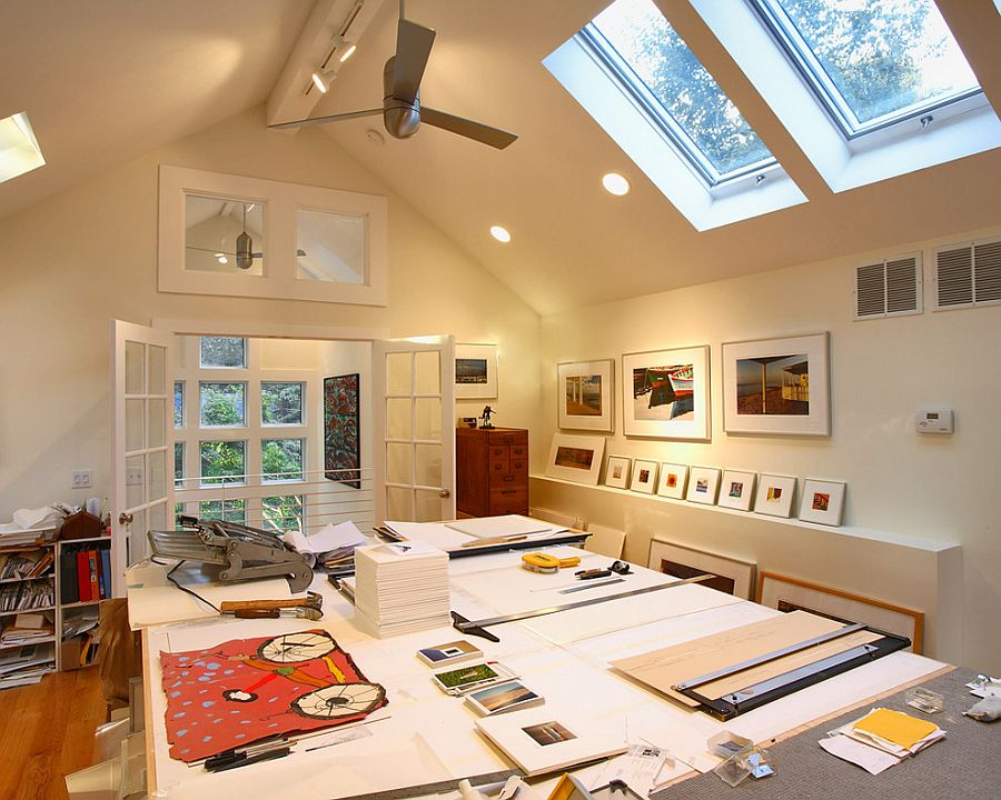 20 trendy ideas for a home office with skylights for Large home office