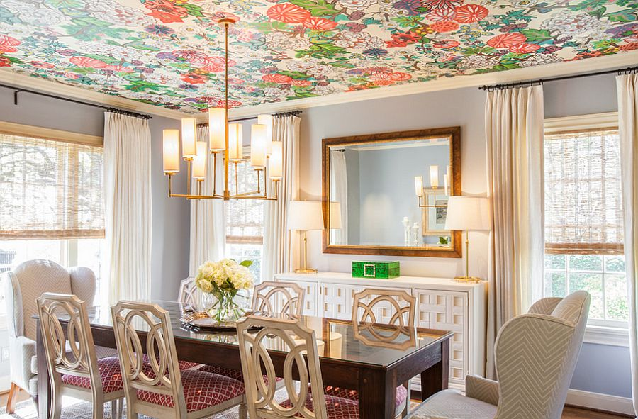 Good Wallpaper For Dining Room Ideas Part - 14: ... How About Some Color For The Dining Room Ceiling? [Design: Laura U]
