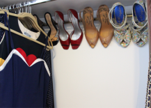 How to Create Shoe Storage in Closet with Curtain Rod