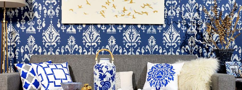Ikat stenciled wall from Cutting Edge Stencils