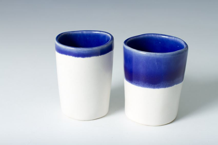 Indigo and blue sake cups from Etsy shop Vitreous Wares